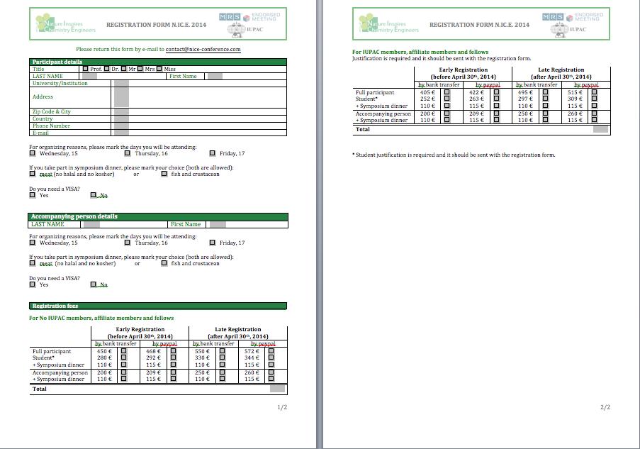 Registration Form Template Conference Registration Form